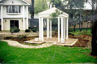 Pergola and brick patio installation for Brookfield home.