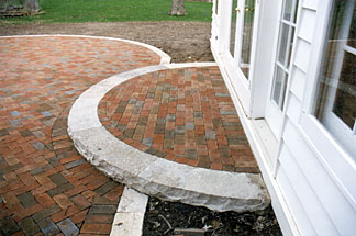 Terraced brick patio