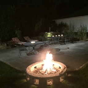 Brennan Landscaping built this patio and fire ring for a Milwaukee homeowner.